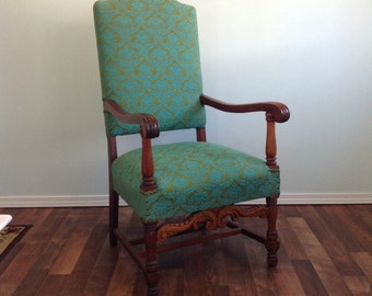 Gorgeous Hand Carved Tapestry Chair Antique Blue Turquoise Clean  Upholstered Vintage High Back