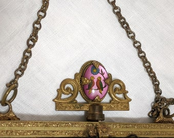 1930s Vintage Love Birds Evening Bag Frame Shattered Silk Pinkish Interior Mirror Graceline Canada