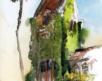 SJSU Tower Hall, San Jose State University ,alumni graduation gift, fine art print of a watercolor sketch
