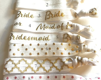 Choose Your Own-White Bridal/Bridal Party Hair Tie Set-Pick 6 hair ties, Wedding Hair Ties, Bridesmaid Hair Ties, Team Bride