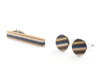 Tie Clip Set, Tie Bar and Cufflinks - Wood Cufflinks - Wood Tie clip - Recycled Skateboards - Groomsmen Gift - Anniversary gift for Him
