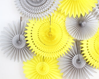 Tissue Paper Flower Fan- Wedding Decoration, Yellow and Gray