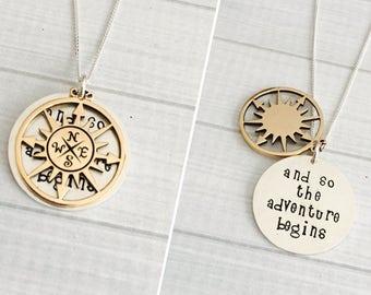 Graduation Jewelry - The Adventure Begins, Inspirational Gift, New Job, Retirement Gift, Class of 2018 Gift, Hidden Message Necklace
