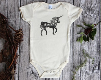 Organic Baby One Piece, organic baby bodysuit, unicorn baby clothes boy, medieval baby, neutral unicorn, baby clothes teacher, baby gift