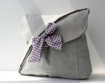 Gray Messenger  Bag  Purple and White Gingham  Bow Adjustable strap For Women For New Mom
