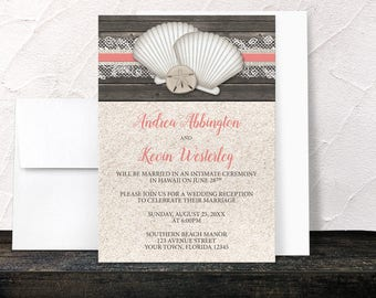 Coral Beach Reception Only Invitations - Seashells Lace Rustic Wood and Sand Beach - Coral Beige Brown - Printed Invitations
