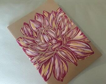 Lotus flower hand painted ivory paper kraft notebook