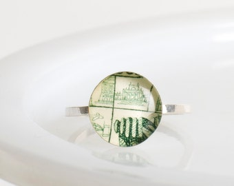 Ring | Postage stamp | Poland | Green | Small | Size 5
