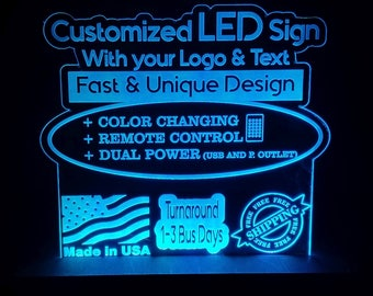 CUSTOM RGB Acrylic LEDs Sign Engraved Desk Sign Neon light Sign Color Changing Remote Control 3  sizes 6x6/8x8/12x12 FREE Shipping