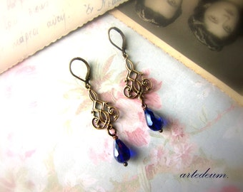 Downton abbey earrings in royal blue and goldretro earrings vintage inspired bronze christmas gift for her