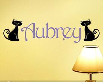 Decal Name with Cats, Kitty Name Decal, Kids Wall Decal, Childrens Wall Decal, Girl Wall Decal, Aubrey or Any Name