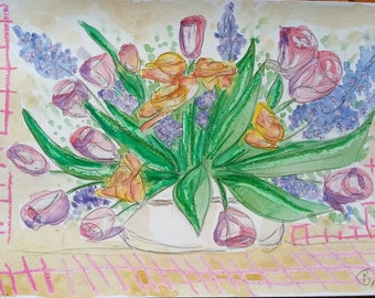 """Mixed Media watercolor Image """"A bouquet of joy for You"""""""
