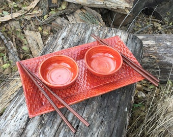 Red Sushi for Two Set, Basket Weave Pattern Handmade Pottery by Daisy Friesen