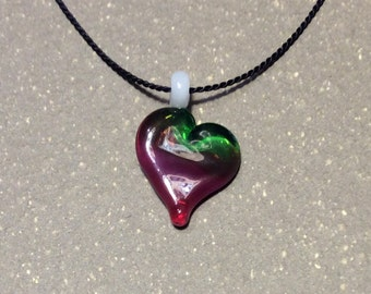Heart necklace, glass heart pendant, silk necklace