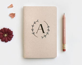 Mothers Day Gift - Floral Monogram Notebook Journal & Pencil, Bridesmaid Gift, Personalized Hostess Wedding Gifts, Hand Drawn Painted Wreath