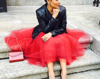 Red Very Full Fluffy Tulle Skirt