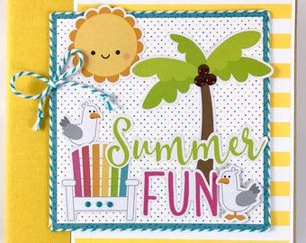 Summer Mini Album Kit or Premade Scrapbook Album Sun Pool Beach Vacation