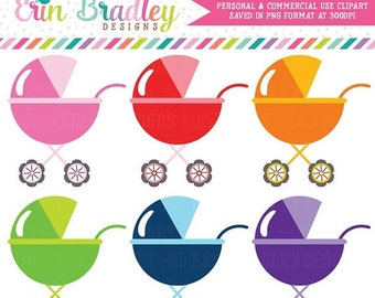 80% OFF SALE Stroller Clipart Baby Clip Art Graphics Baby Shower Clipart Personal & Commercial Use OK