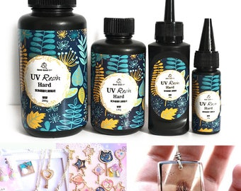 Clear / Transparent UV Resin DIY 10/15/25/60/100/200g Hard Type Ultraviolet Curing Solar Cure Sunlight charm and jewelry marking