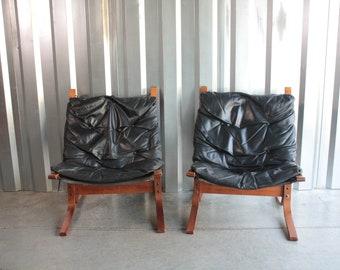 Pair of Westnofa Siesta Chairs in teak and black leather