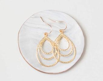 Gold Hoop Teardrop Earrings - Hammered Gold Jewelry - Trendy 2017 Jewelry - Modern Jewelry - Delicate Gold Jewelry - Dainty Gold Earrings
