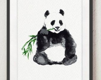 Panda Watercolor, Animal Print, Bear Painting, Animals Art Poster, Black and White, Home Decor, Woman Gift