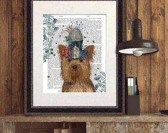 Yorkie print Milliners Dog -  Yorkshire Terrier Print beehive print bee gift apiary bee keeper gift beekeeping print cute dog wall art