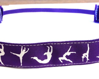 NOODLE HUGGER Non slip ribbon headband - Purple gymnasts - 7/8 inch (running, working out, everyday: women and girls)