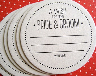 Letterpress Coaster - a wish for the bride & groom (set of 30)