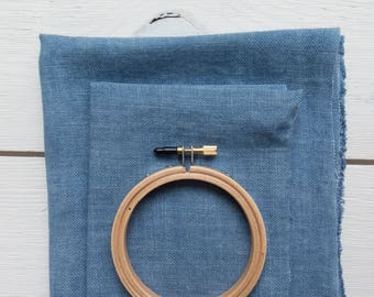 32 ct Linen Cross Stitch Fabric | Weeks Dye Works Hand Dyed Linen for Cross Stitch, Embroidery - Sky (DENIM)