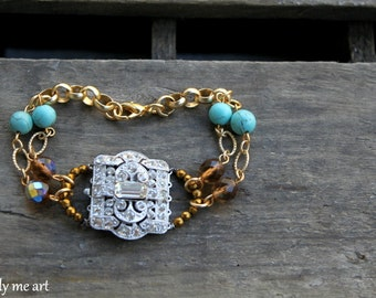 Vintage Art Deco Rhinestone, Turquoise, Pyrite and Glass Bead One of a Kind Bracelet... Giddy Up.. 03