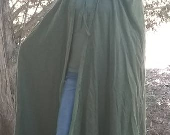 Hooded CAPE full length cloak tweed Olive GREEN tie at collar