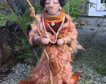 Medicine Doll, Needle Felted, Handmade, Shamanic Art Doll, Healing Art Doll, Spirit Doll, Energy Doll, Goddess Doll