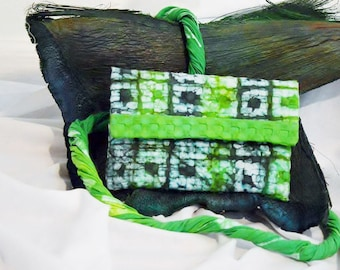 Green Evening Batik Clutch/Handmade Gift/Handdyed/Eco Friendly/Eco Fashion/Textured Cotton/Mother's Day Gift/Ethically Made/One-of-a-kind