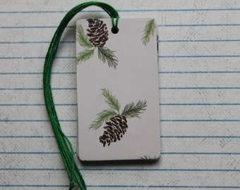 """19 Pine cone tags paper/chipboard 1 1/2"""" x 2 5/8"""""""