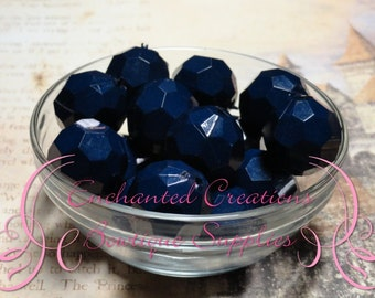 20mm Solid Navy Blue Hexagon Beads 10pcs, Chunky Beads, Bubblegum Beads, Gumball Beads, Dark Blue Faceted Beads, Hexagon Beads