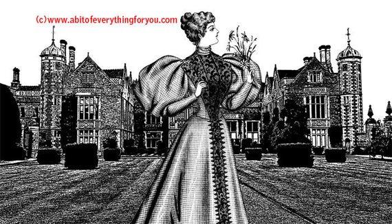 Royal Princess Castle manor Abstract printable art prints digital download image graphics black and white artwork