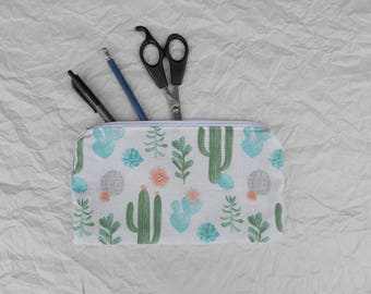Colorful cactus pouch. Handmade in Quebec