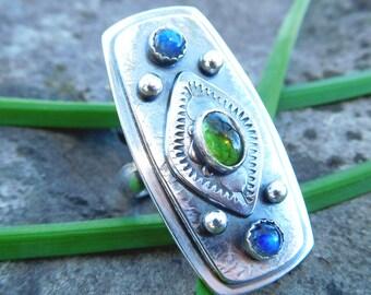 Green tourmaline and labradorite ring   Size 6.5   Sterling silver gemstone ring   Boho shield ring   multi stone ring   artisan metalwork