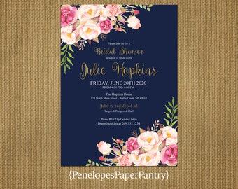 Elegant Rustic Summer Bridal Shower Invitation,Navy,Blush,Pink,Roses,Gold Print,Shabby Chic,Personalize,Custom,Printed Invitation,Envelopes