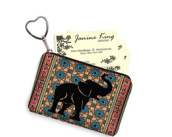 Elephant Business Card Holder Fabric Pouch Key Fob Small Zipper Bag Coin Purse Key Chain Tribal Moroccan Kilim Persian Rug blue red  RTS