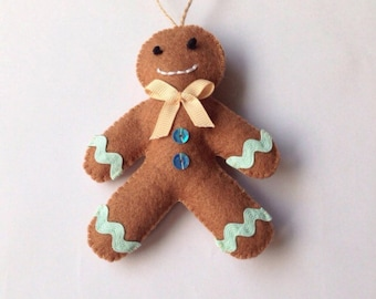 Gingerbread Man / Christmas Decoration / Felt Decoration / Hanging Decoration / Gingerbread Decoration /