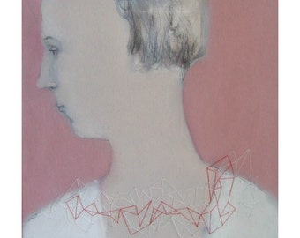Woman Profile original painting portrait figurative oil people embroidery Valentine's day gift canvas