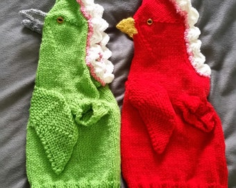 Hand Knit One-Size-Fits-Most Dragon Costume for Cats or Small Dogs- Multiple Colors Available!