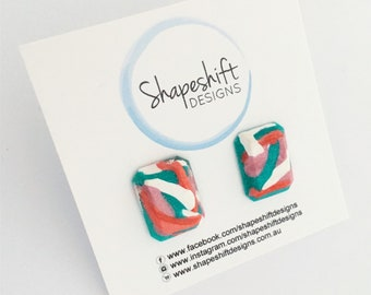 Handmade Polymer Clay Stud Earrings - Bright Gems - Teal, White, Coral & Pink