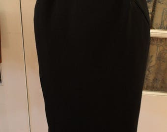 1950's Black Wool Louben Skirt with Button Tabs