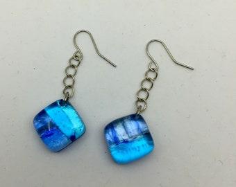 Blue Fused Glass Drop Earrings