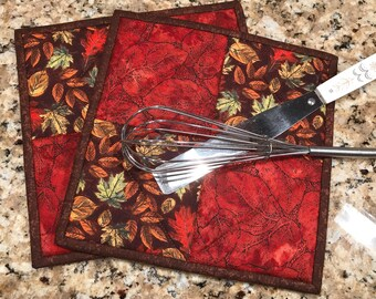 Quilted pot holders, Fall hot pads, Thanksgiving decor, cloth trivets, fall colors, potholders, Quiltsy handmade, Item #277