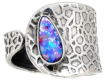 Australian Opal Cuff Ring. Solid Sterling Silver Setting. Size 7.5 • 9408