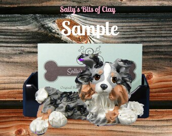 Tan Point Tri Blue Merle Shetland Sheepdog Sheltie Business Card Holder / Iphone / Cell phone / Post it Notes OOAK by Sally's Bits of Clay
